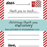 Christmas thank you stationery for kids {free printable}