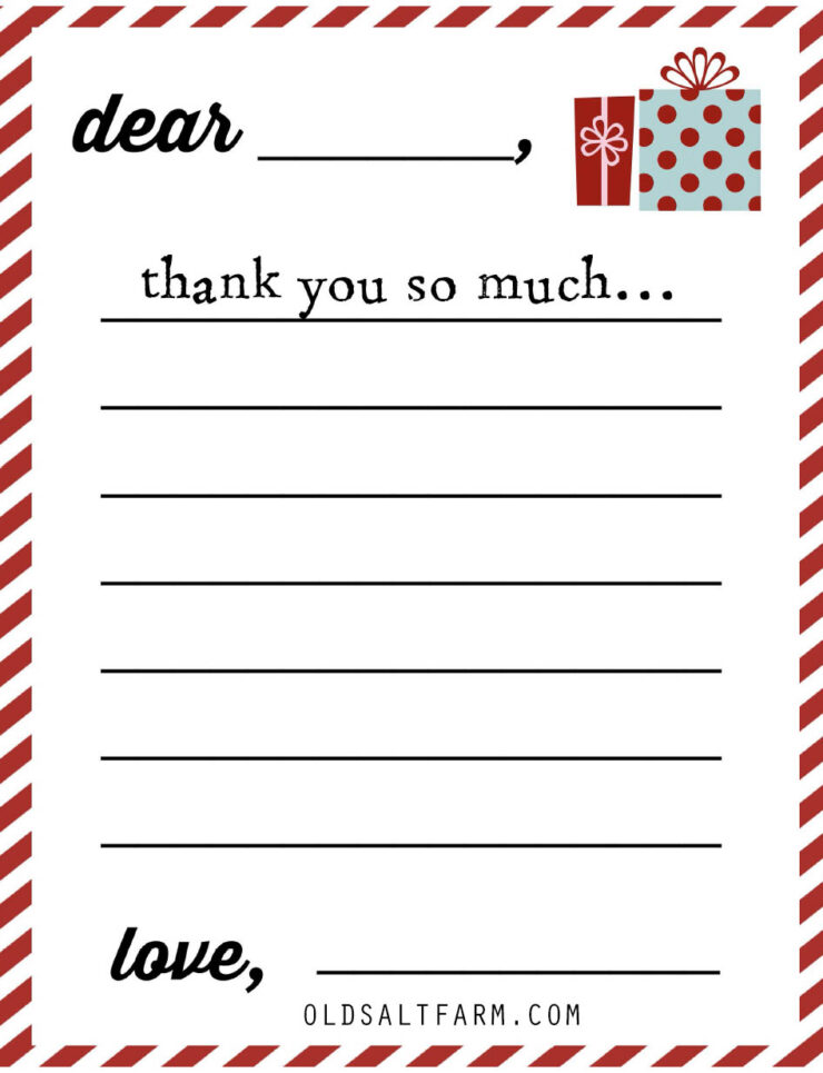 Christmas Thank You Notes for Kids