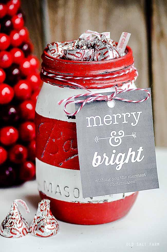 Red Striped Christmas Mason Jar Gift Ideas