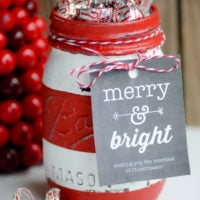 Christmas Striped Mason Jar Gift & Soap Dispenser