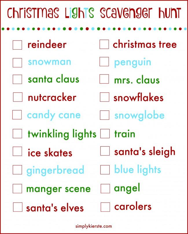 christmas lights scavenger hunt | free printable | simplykierste.com