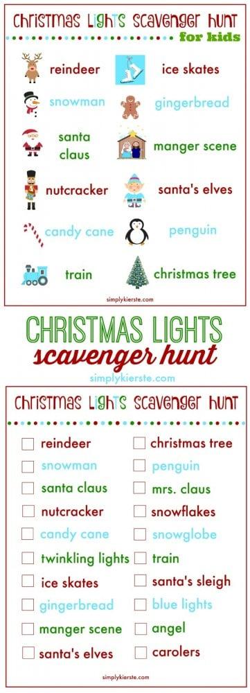 christmas lights scavenger hunt | free printable | oldsaltfarm.com