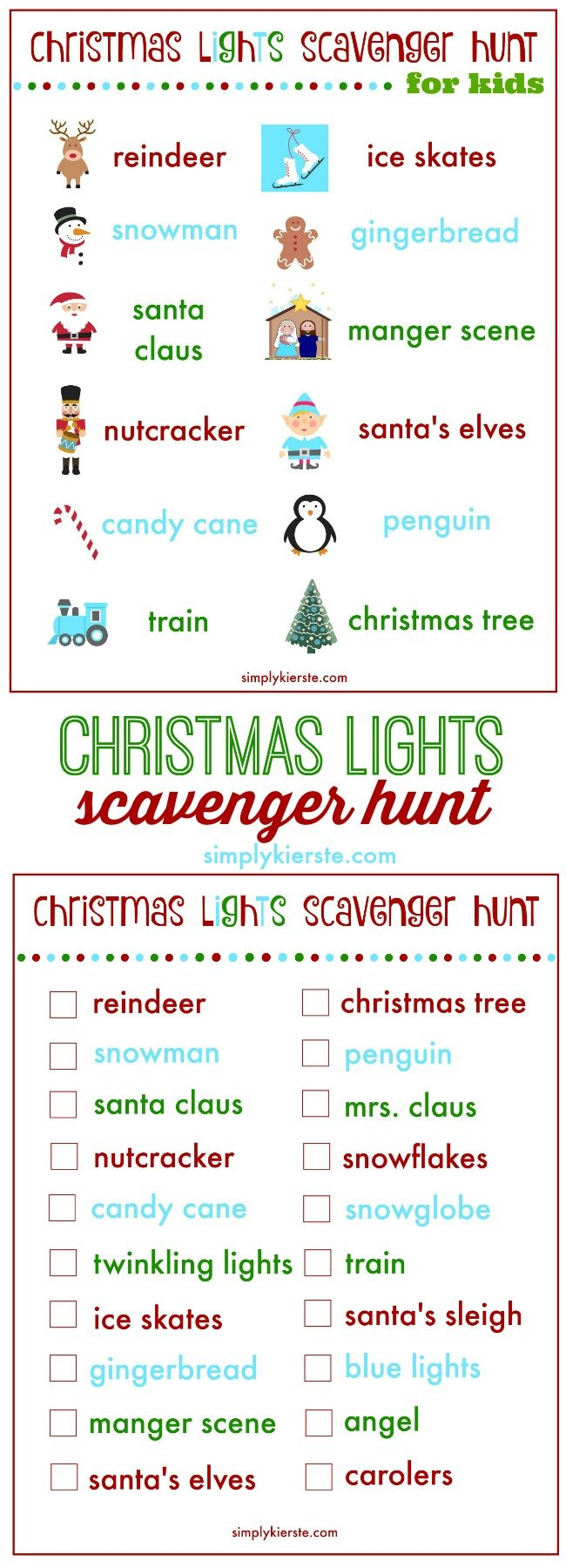 christmas lights scavenger hunt | free printable | simplykierste.com