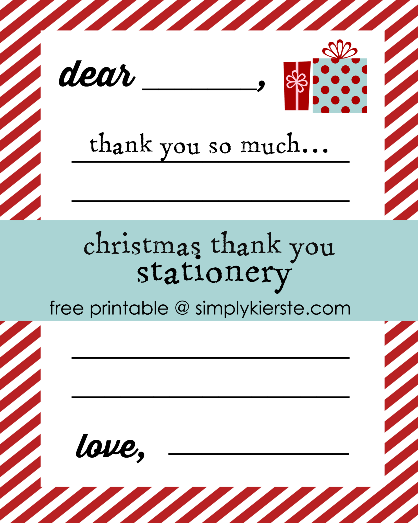 Christmas Thank you Letters for Kids | simplykierste.com