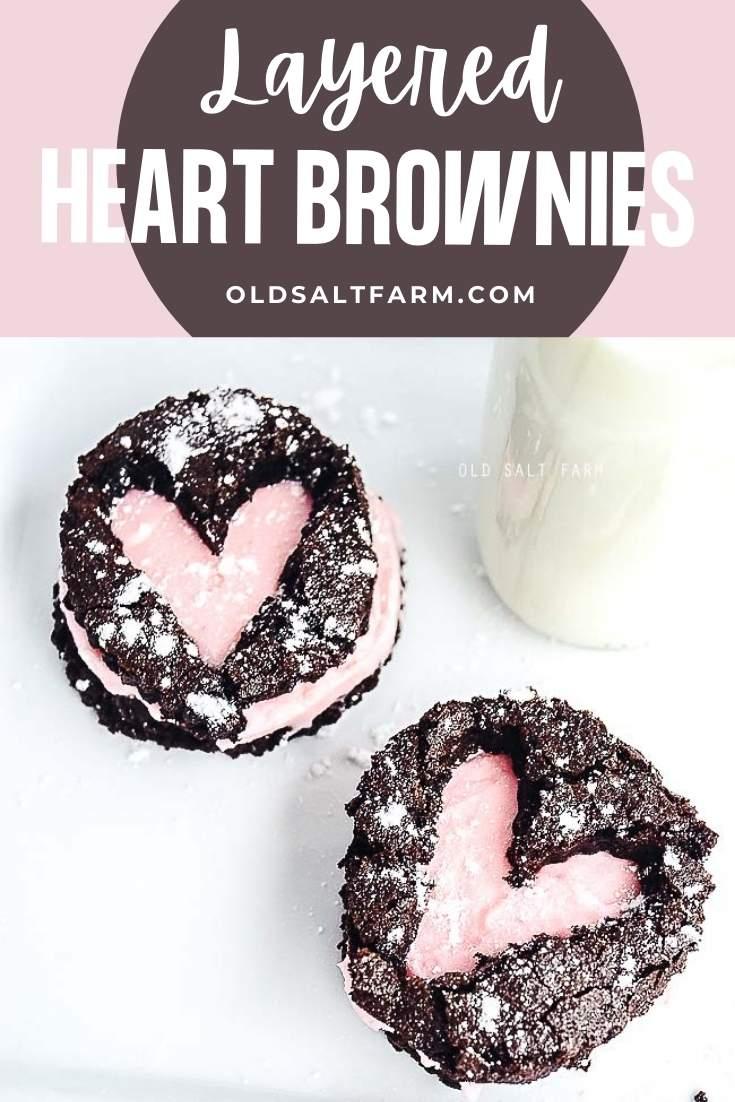 Layered Heart Brownies