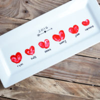 A platter with darling heart thumbprints, perfect for Valentine's Day! | oldsaltfarm.com