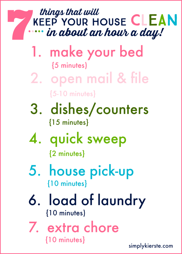 7 things that will help you keep your house clean in about an hour a day | simplykierste.com