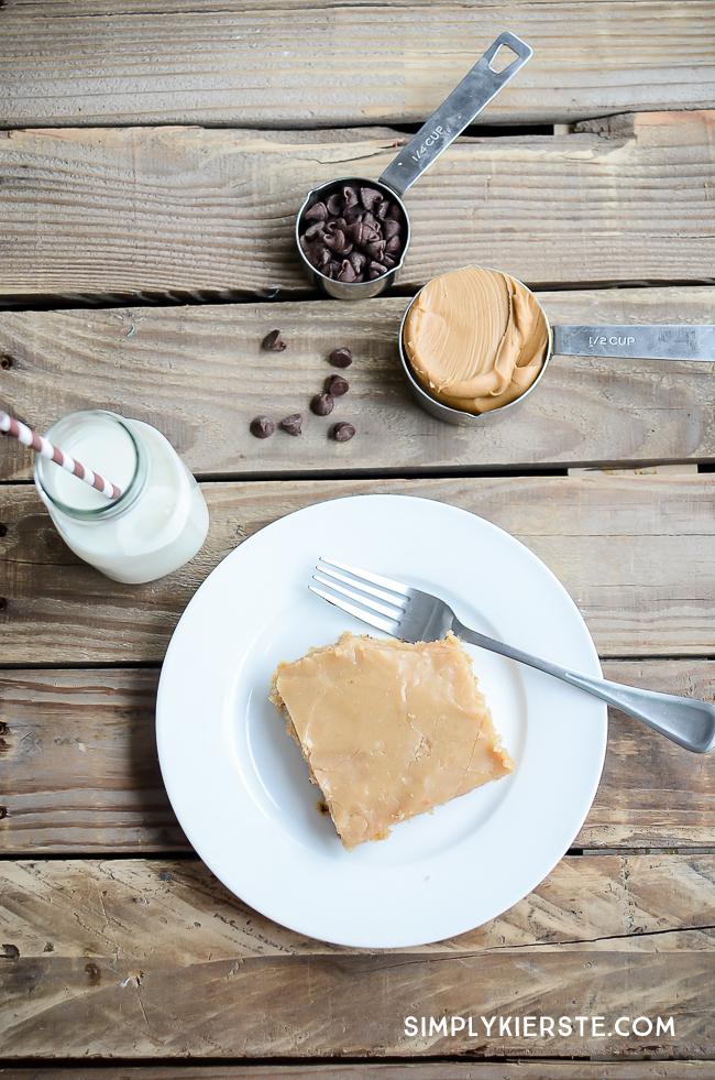 Peanut Butter Chocolate Chip Sheet Cake