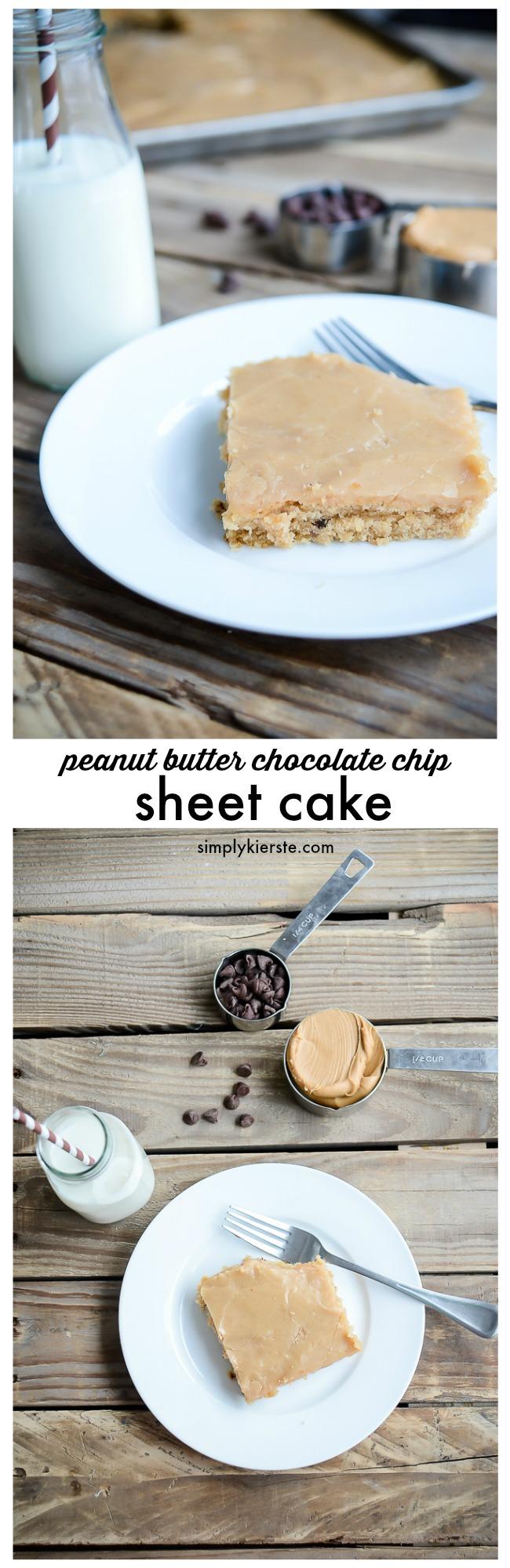 Peanut Butter Chocolate Chip Sheet Cake   oldsaltfarm.com