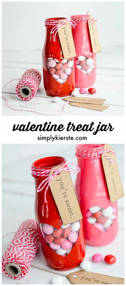 Adorable peek-a-boo Valentine treat jar with free printable! | oldsaltfarm.com