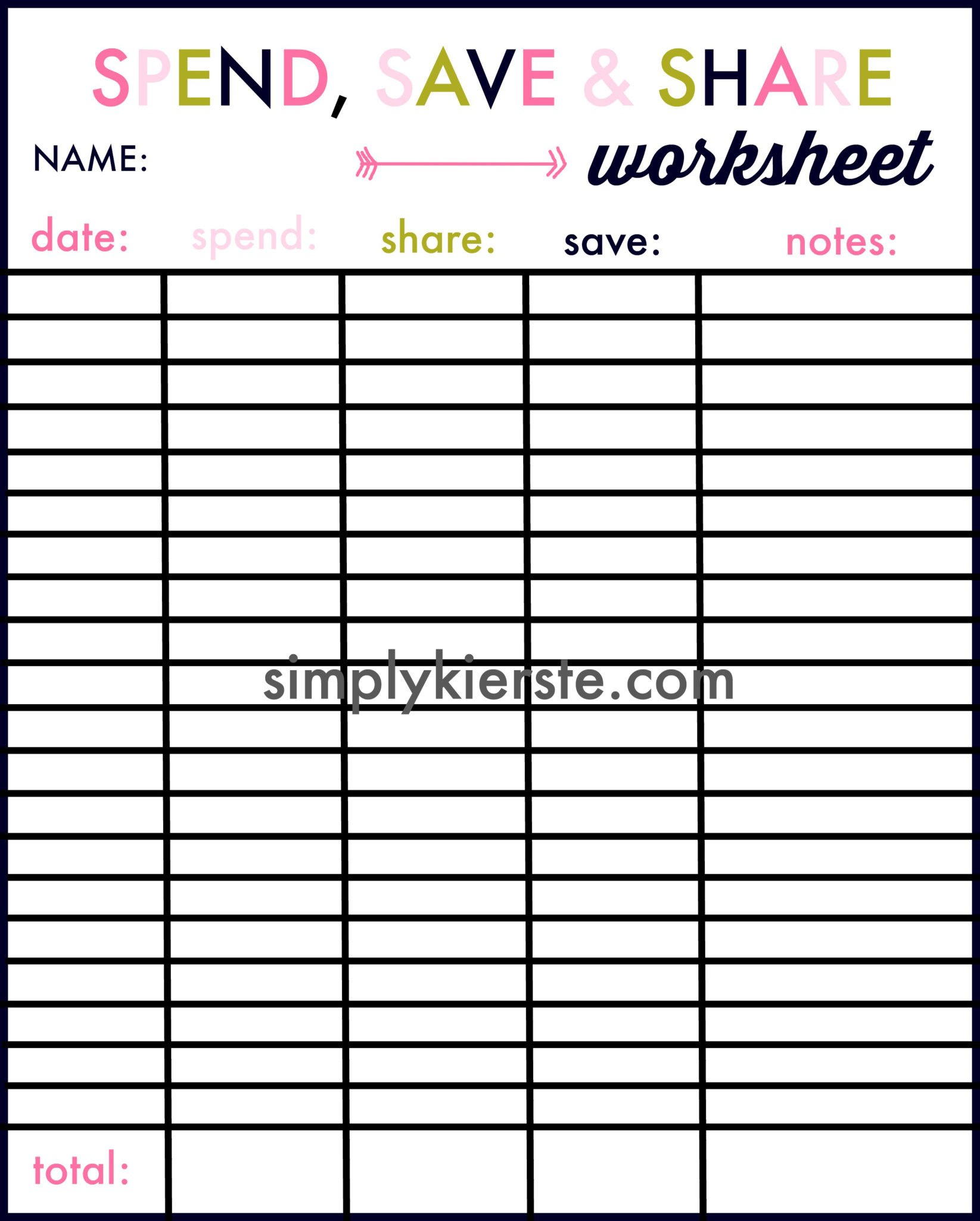 save spend share savings worksheet | simplykierste.com