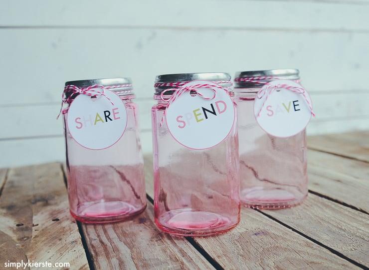Save, Spend & Share Jars for Kids