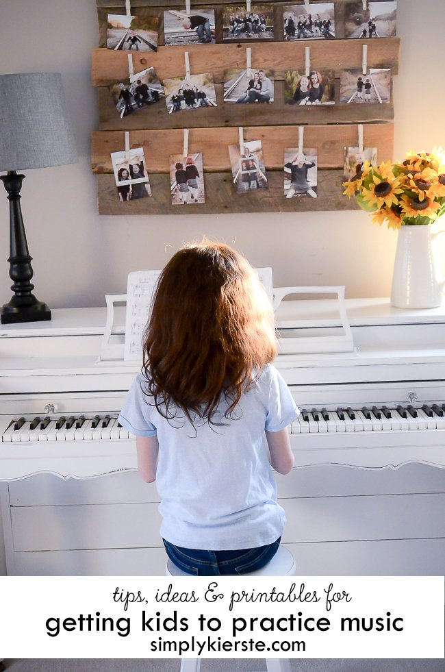 Tips, Ideas and Printables for Getting Kids to Practice Music | simplykierste.com