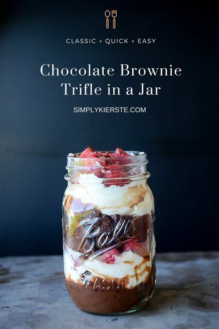 Chocolate Brownie Trifle in a Jar | simplykierste.com