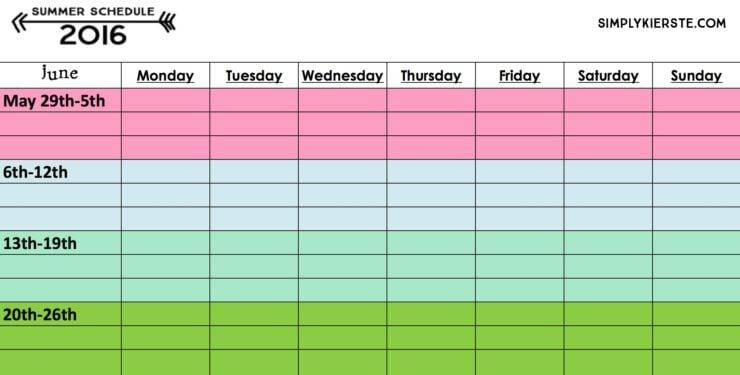 An Organized Summer: Summer Schedule 2016 | Free Printable | oldsaltfarm.com