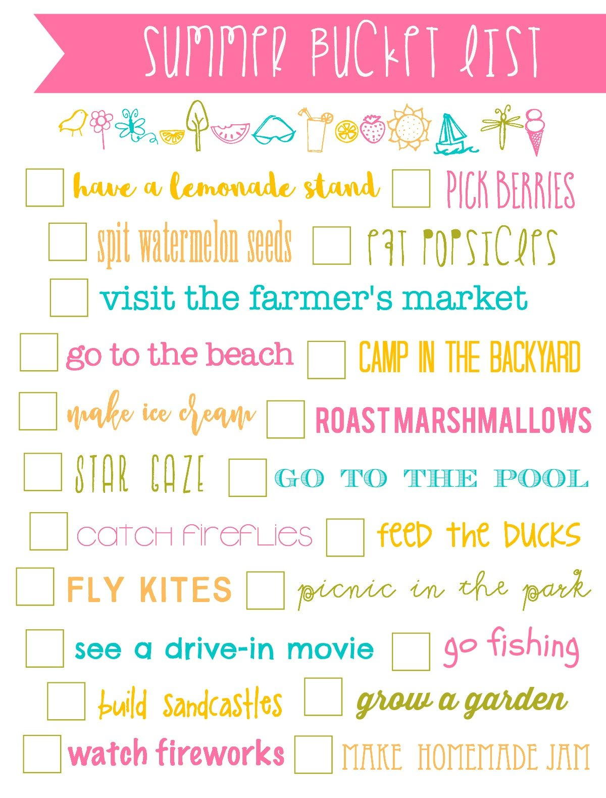 Summer Bucket List Printable Simply Kierste Design Co