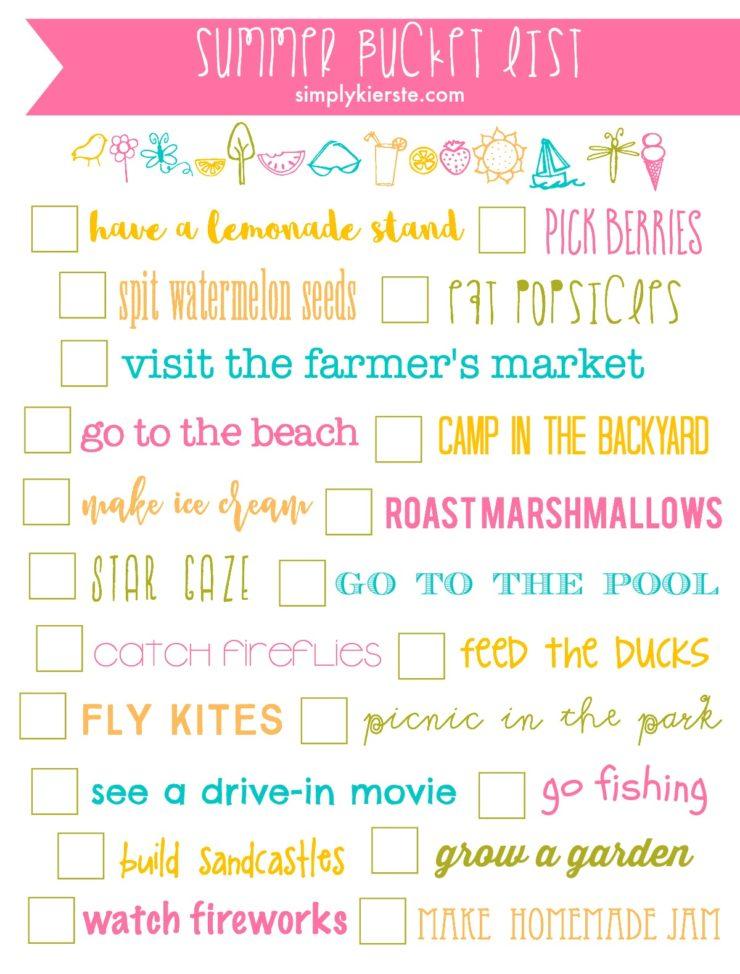 Summer Bucket List Printable | oldsaltfarm.com