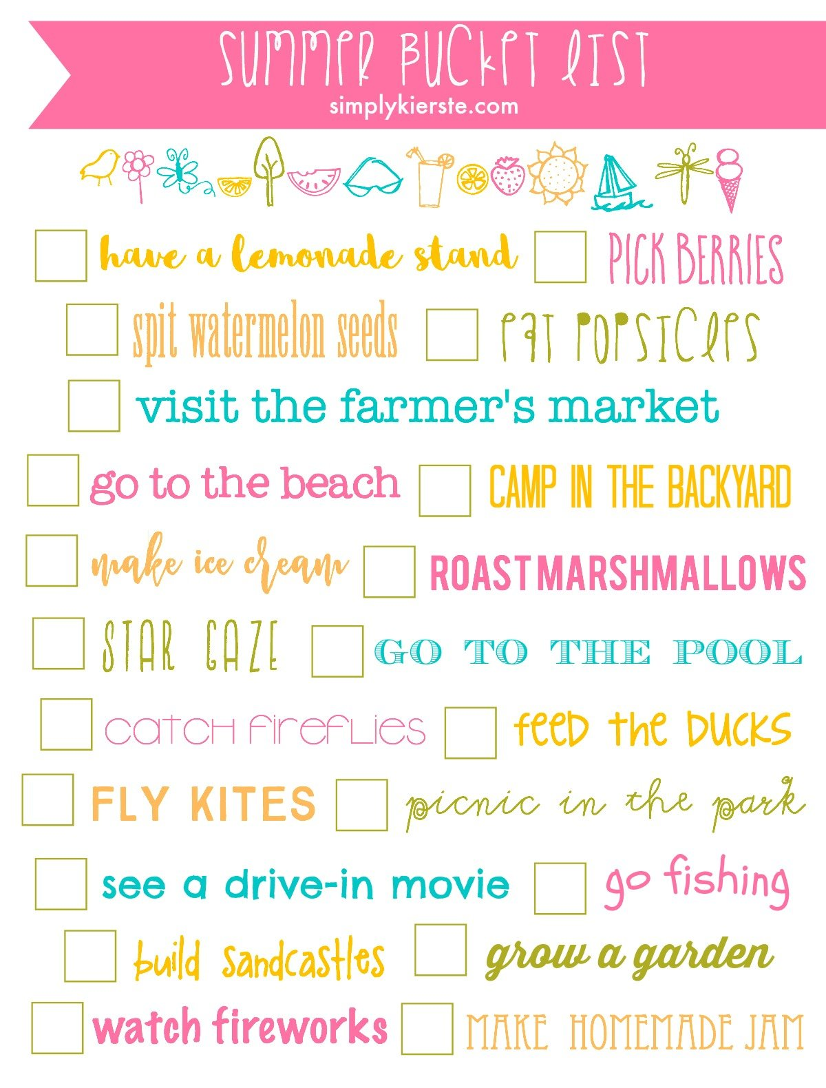Summer Bucket List Printable on More Winter Printables