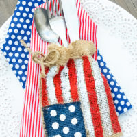 Burlap Flag Silverware Holders
