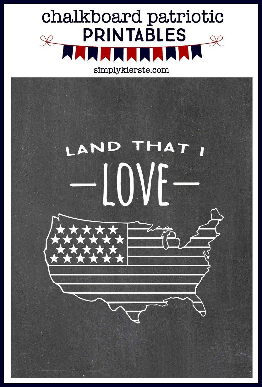Patriotic Chalkboard Printables