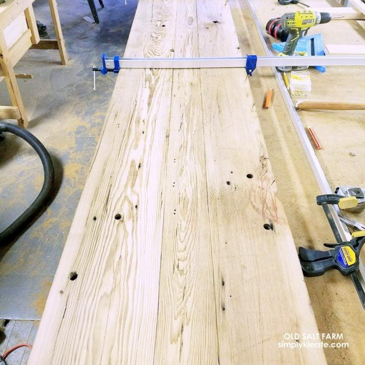Building Old Salt Farm: Month Three Update  Reclaimed Wood Kitchen Island   oldsaltfarm.com