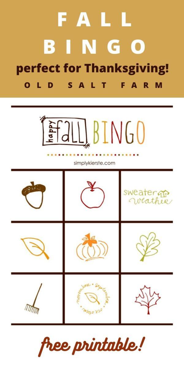 Thanksgiving Bingo Fall Games