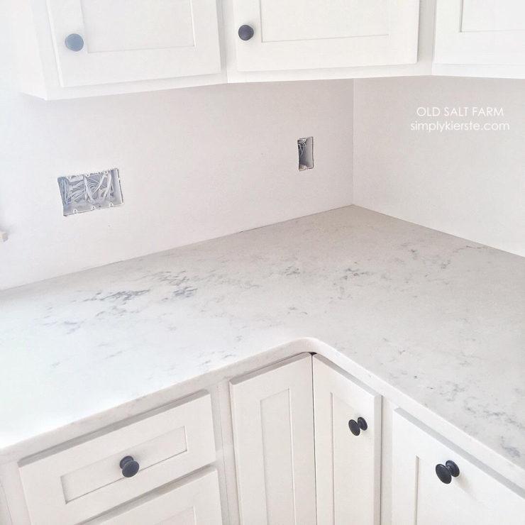 Building Old Salt Farm: Marble Alternatives, Quartz Countertops | oldsaltfarm.com