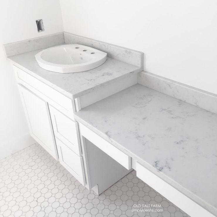 Building Old Salt Farm: vintage tile, white bathroom, master bathroom | oldsaltfarm.com