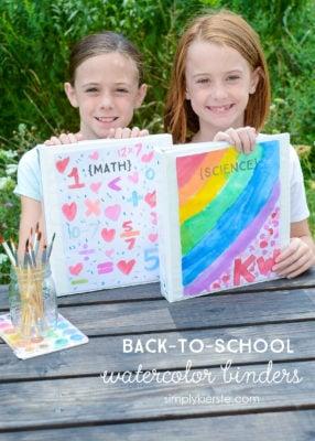 Back-to-School Watercolor Binders | simplykierste.com