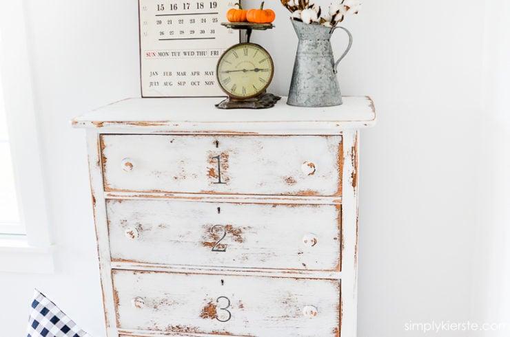 DIY Numbered Dresser Makeover