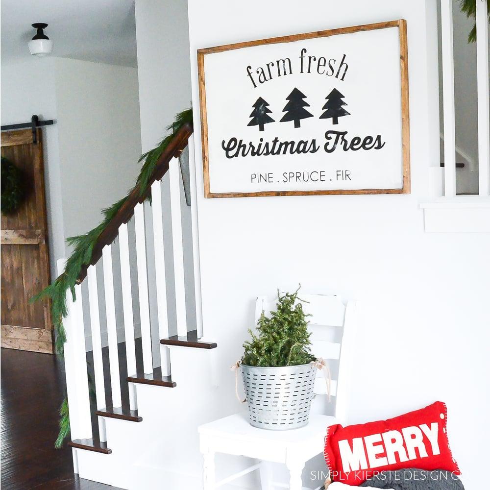 Farm Fresh Christmas Trees Sign + Free Cut File - Simply Kierste Design Co.