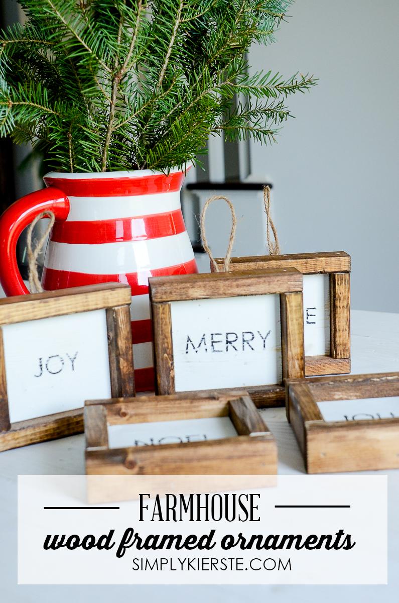 Farmhouse Wood Framed Christmas Ornaments