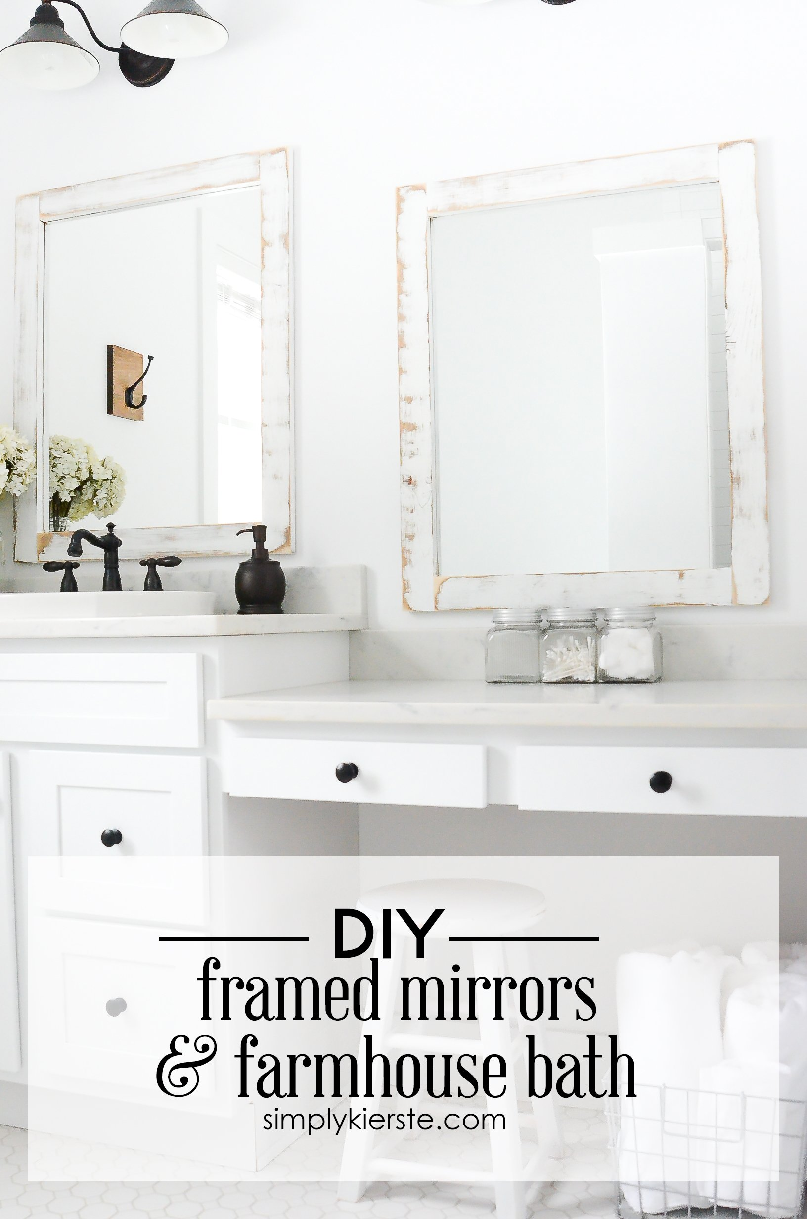 Farmhouse Bathroom + DIY Framed Mirrors