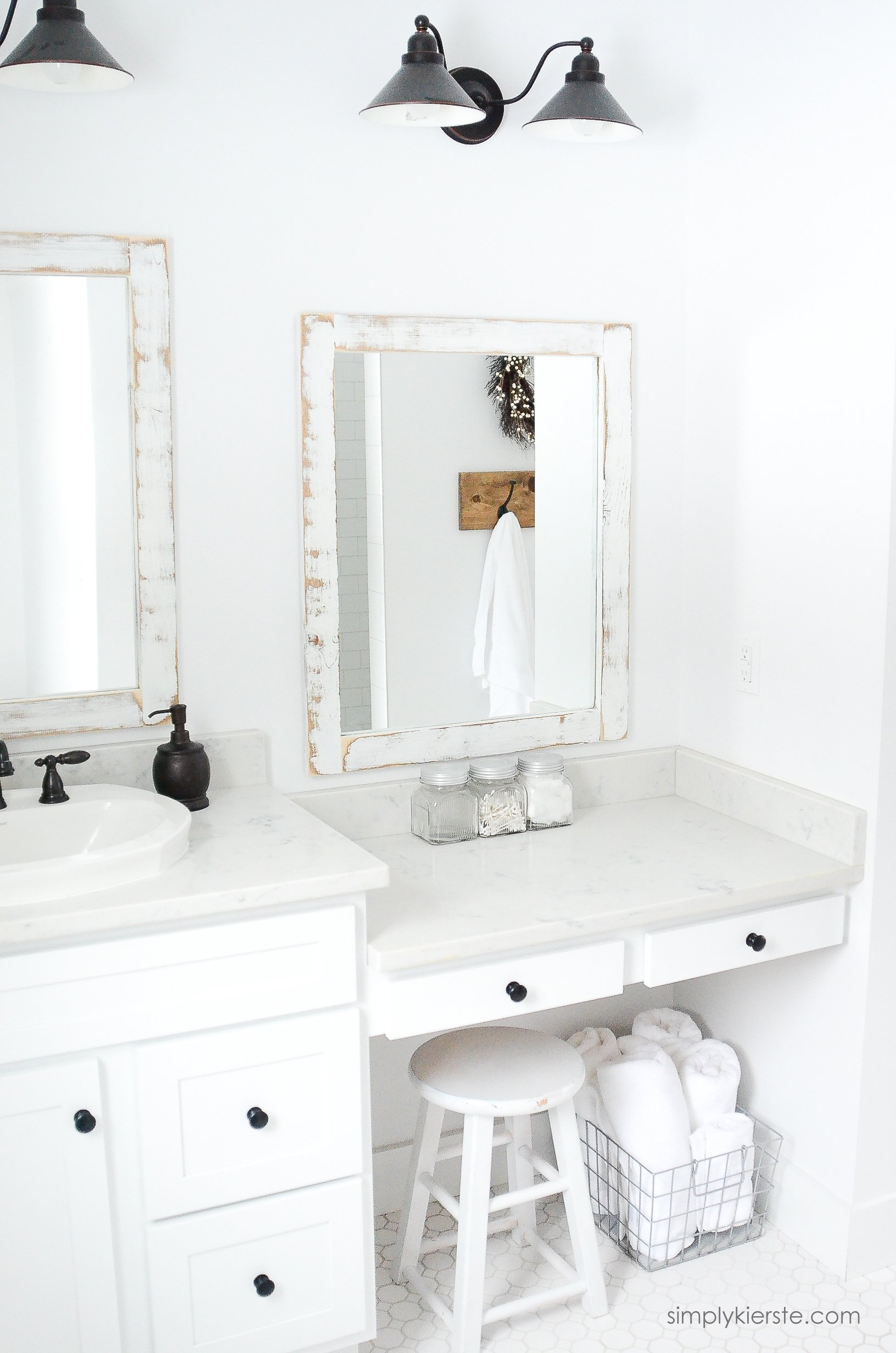 Farmhouse bathroom diy framed mirrors simply kierste for Simply bathrooms