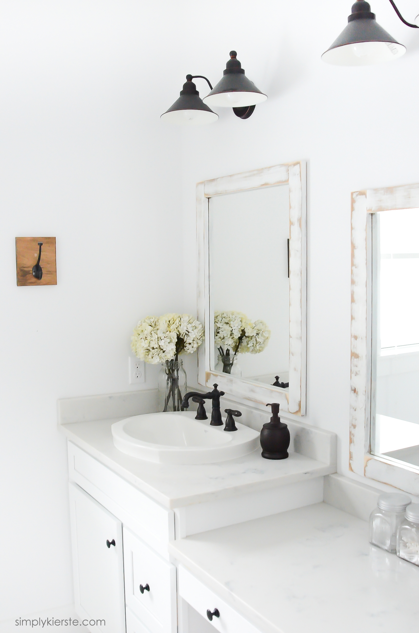 Farmhouse Bathroom + DIY Framed Mirrors - Simply Kierste Design Co.