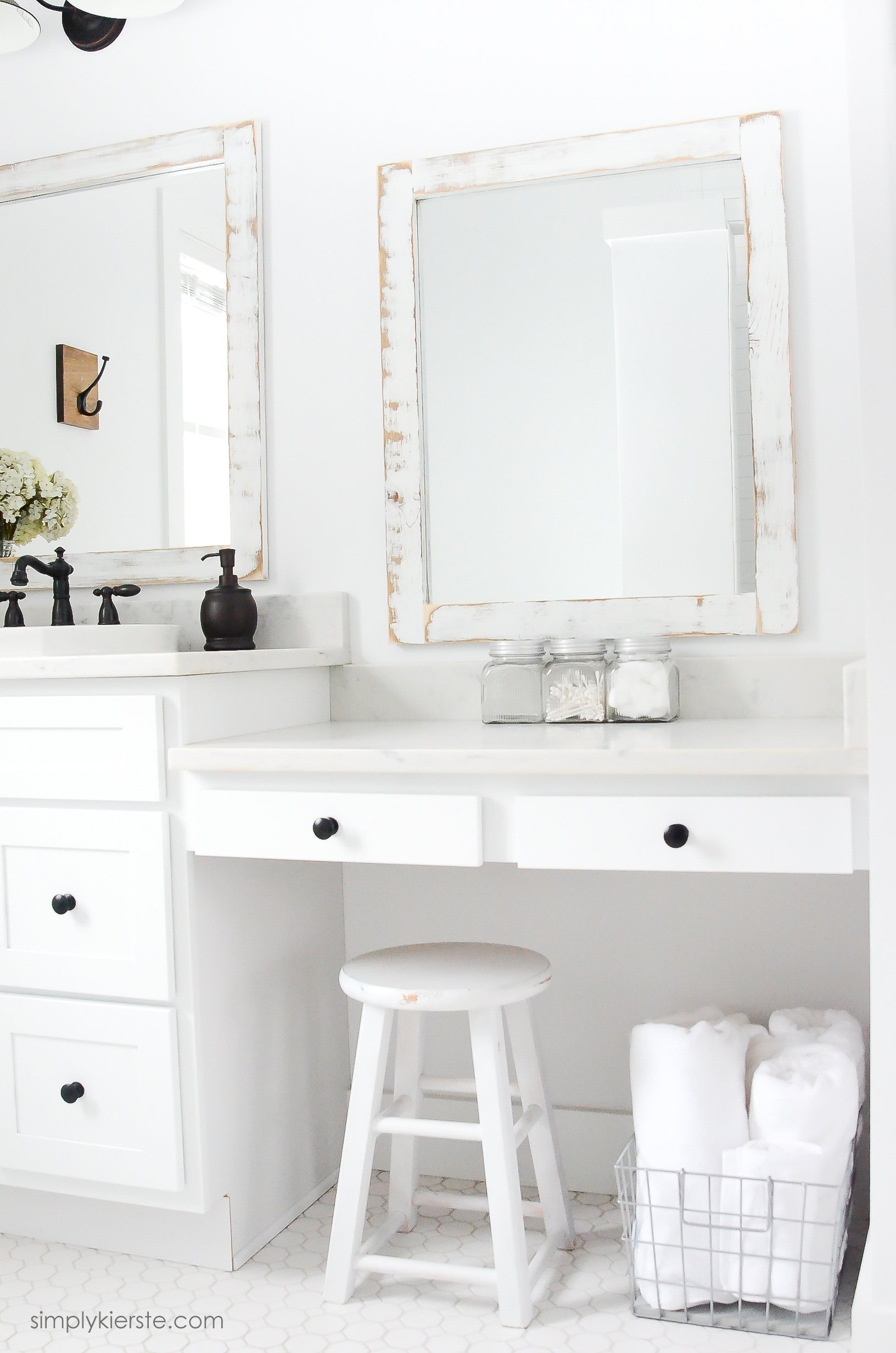 Bathroom Mirror Diy farmhouse bathroom + diy framed mirrors - simply kierste design co.