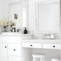 Farmhouse Bathroom + DIY Framed Mirrors