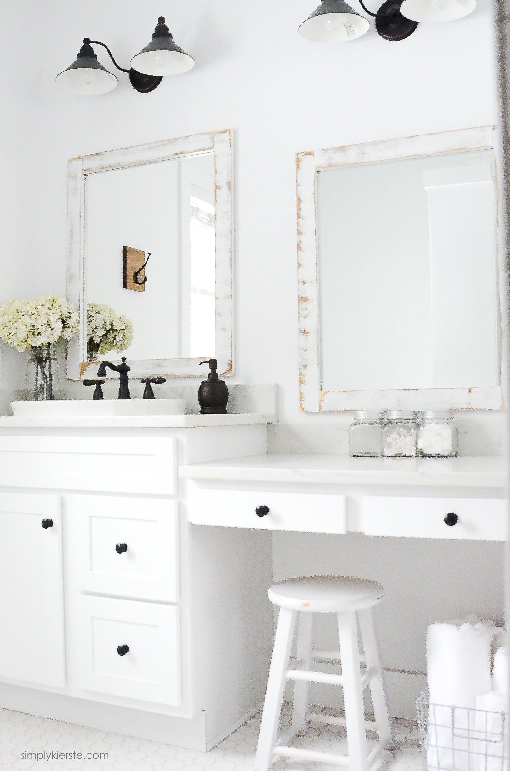Farmhouse Bathroom | DIY Bathroom Mirrors | oldsaltfarm.com