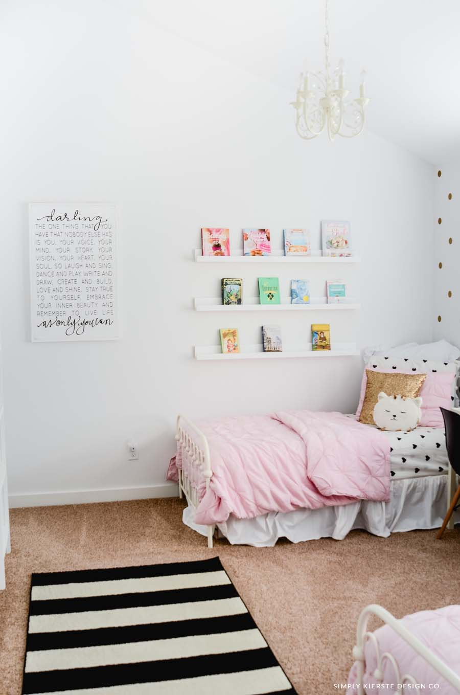 Pink & Gold Girls' Bedroom Makeover