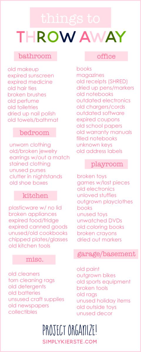 Things to Throw Away   Get Organized!   simply kierste.com