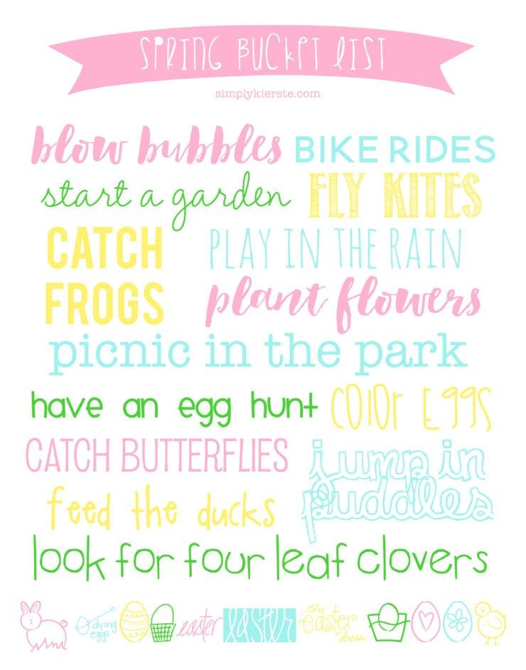 Spring Bucket List | Printable & Decor | simplykierste.com