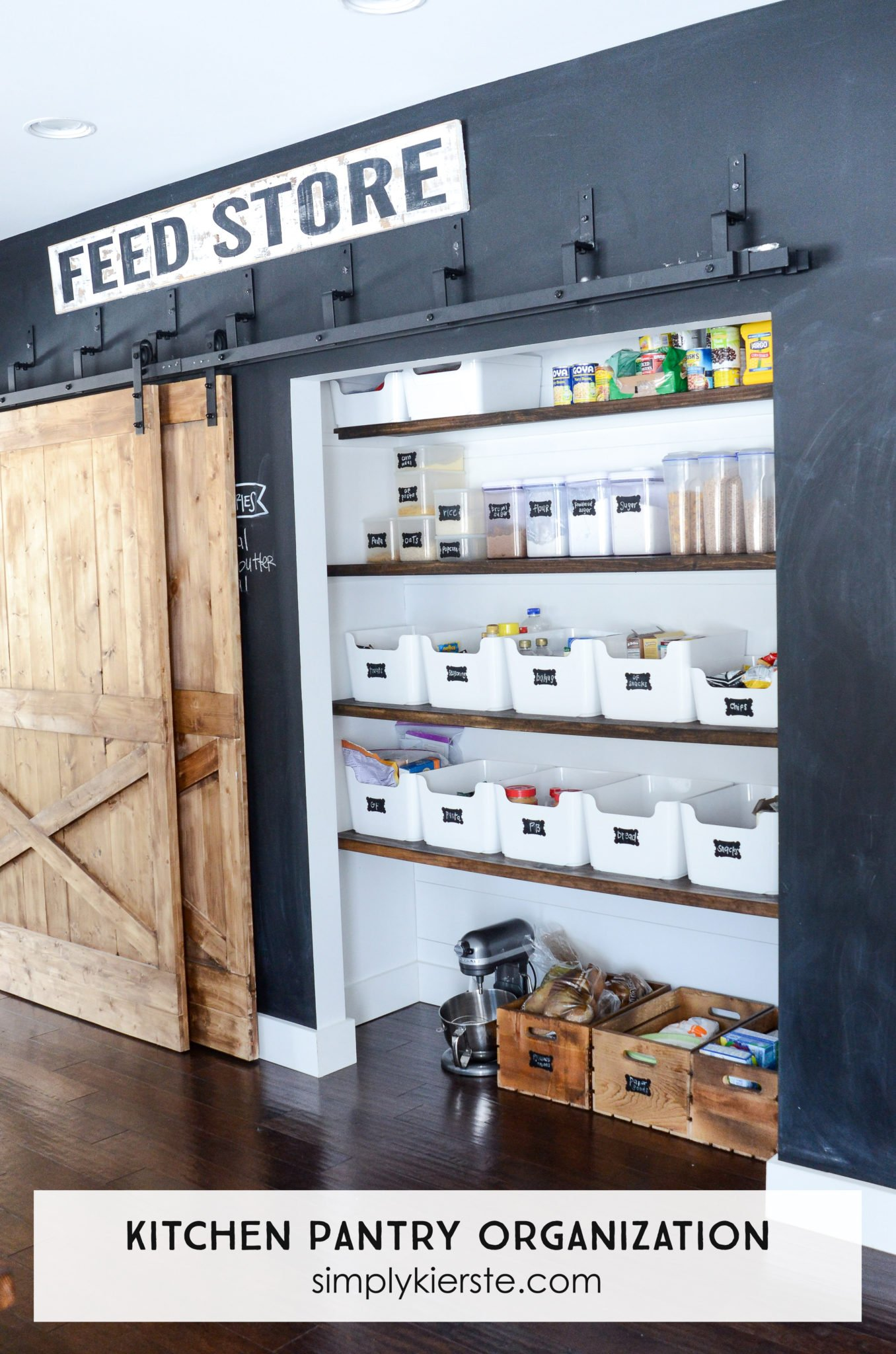Farmhouse Kitchen Pantry Organization + A Little Bit of Shiplap & Barn Doors