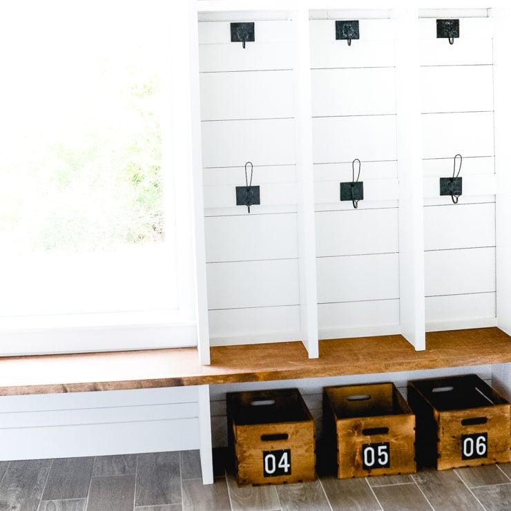DIY Numbered Crates | Mudroom Storage & Organization