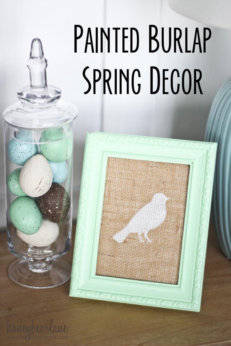 Painted Burlap Spring Decor | Spring Decor Ideas | simplykierste.com