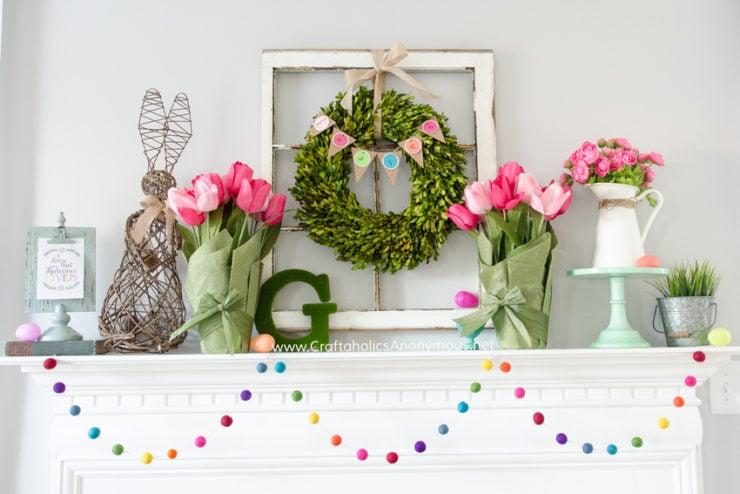 Spring Mantel | Spring Decor Ideas | oldsaltfarm.com