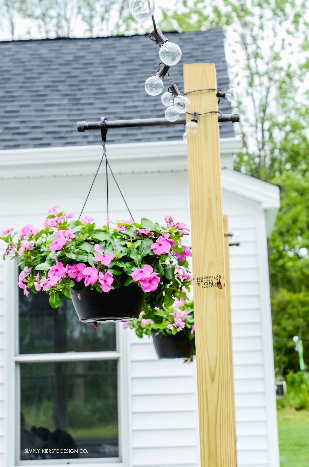 Outdoor String Lights on DIY Posts - Simply Kierste Design Co.