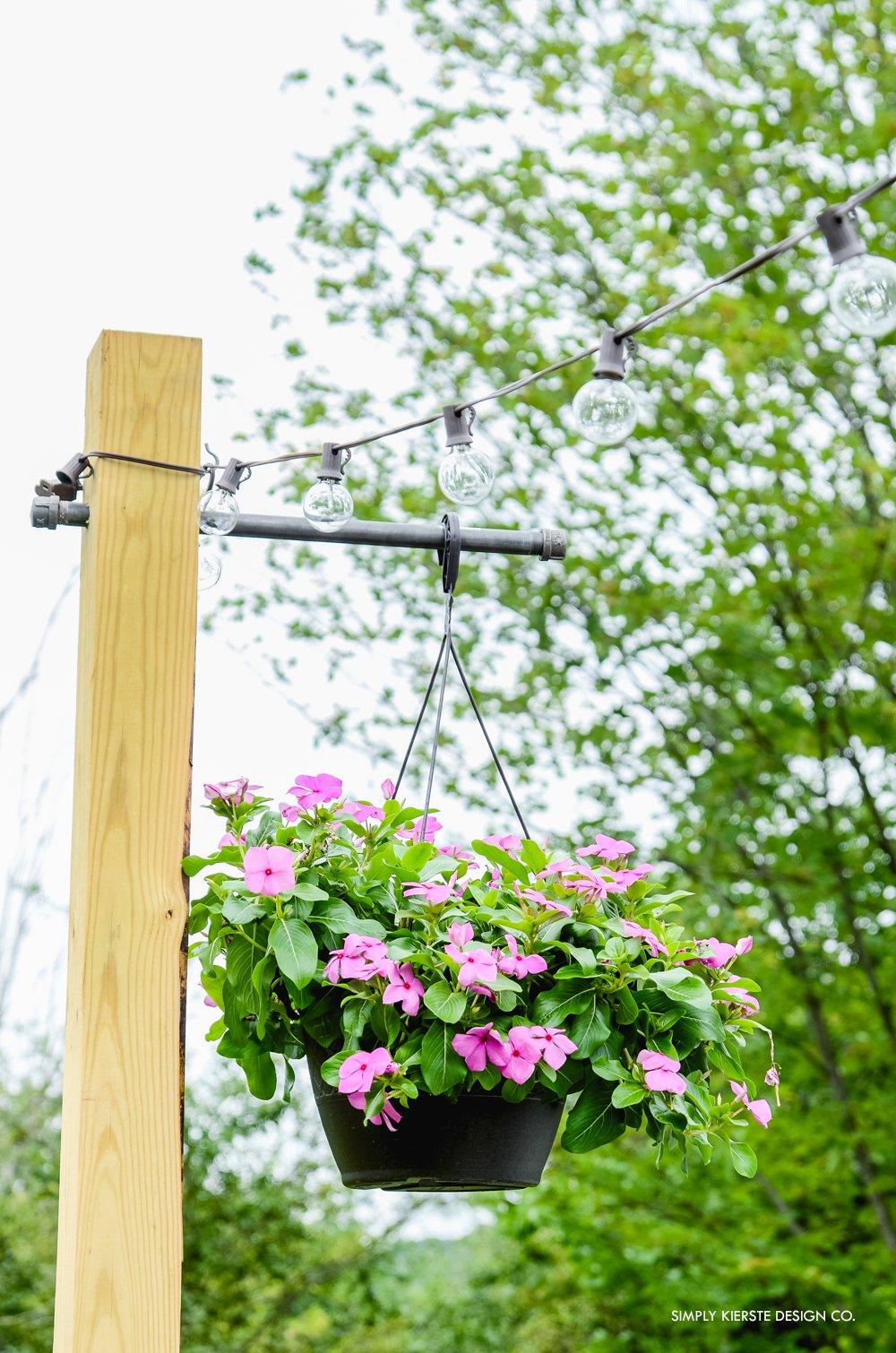 Outdoor String Lights on DIY Posts | oldsaltfarm.com
