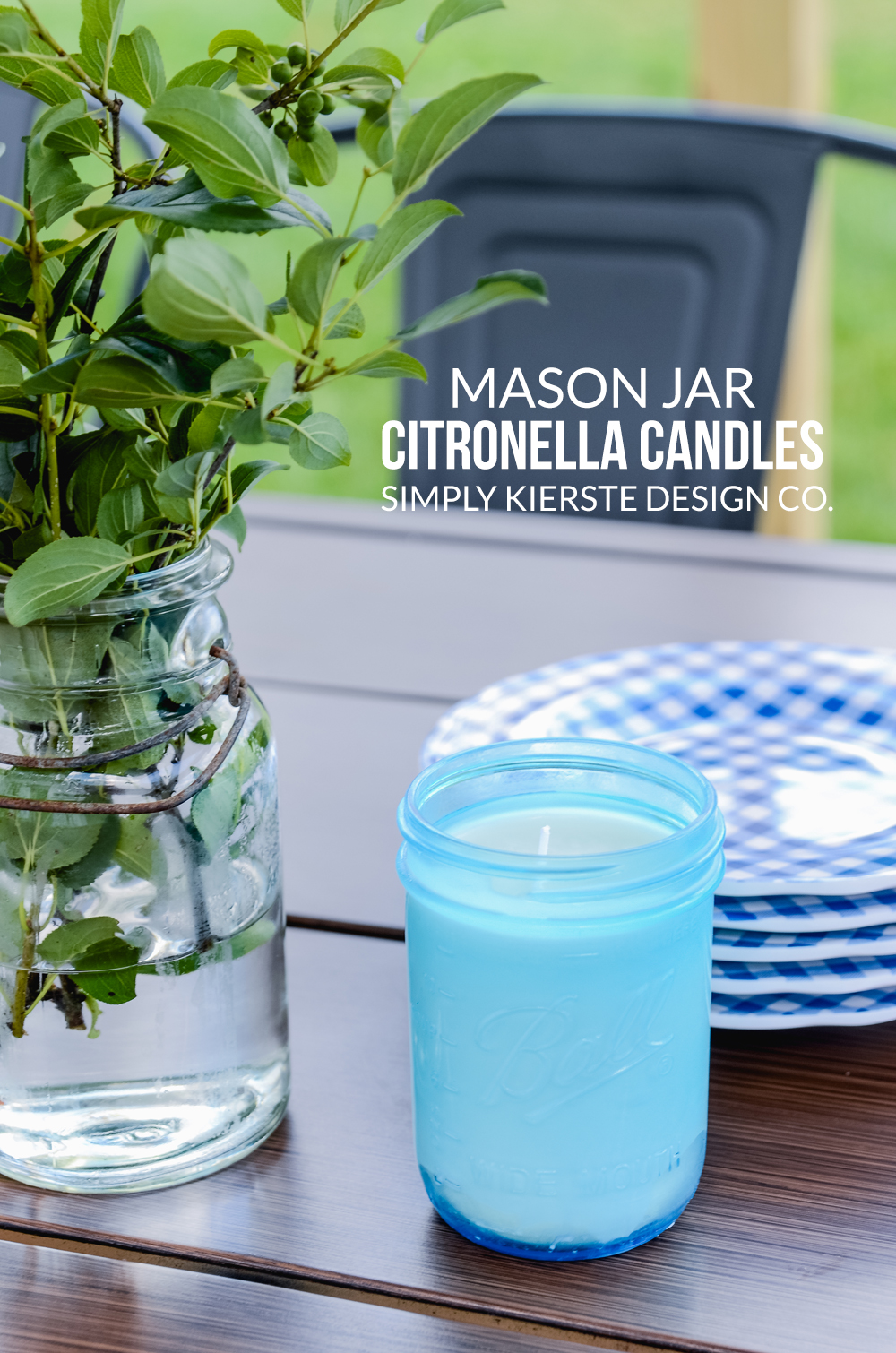 How to Make Farmhouse Style Mason Jar Citronella Candles | simplykierste.com