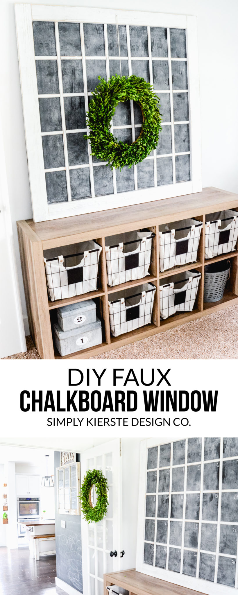 DIY Faux Chalkboard Window | Don't wait to find the perfect old window, just make your own in any size! Perfect farmhouse style! | oldsaltfarm.com