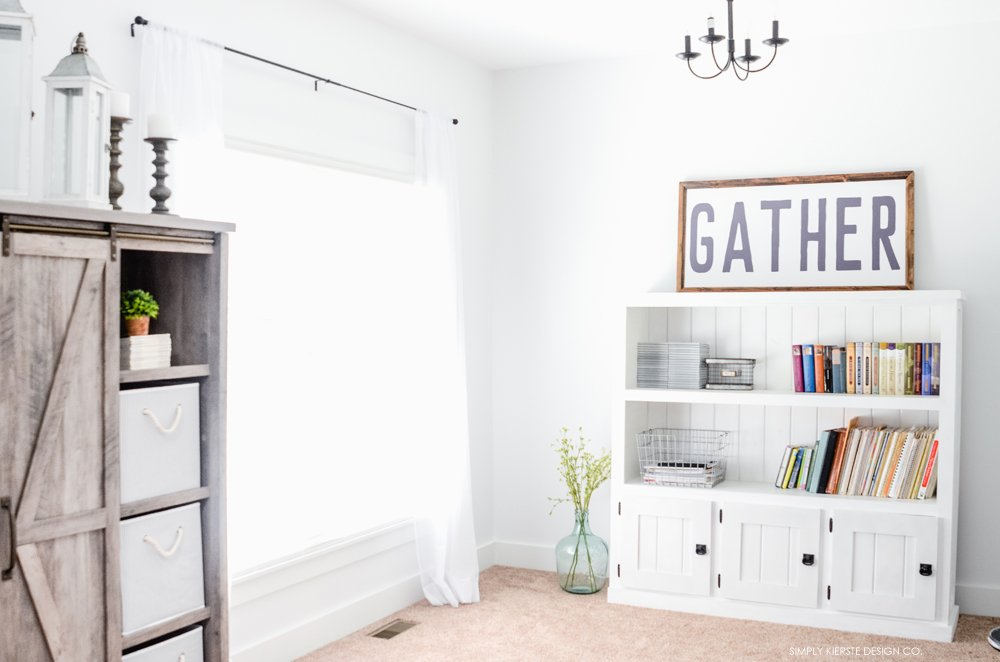 Before & After: Farmhouse Style Music Room & Library | simplykierste.com